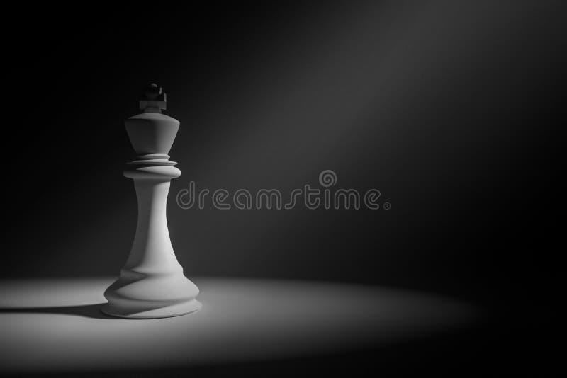rappresentazione 3D: Illustrazione di scacchi bianchi di re in una stanza molto scura con goccia leggera della pittura sugli scac illustrazione vettoriale