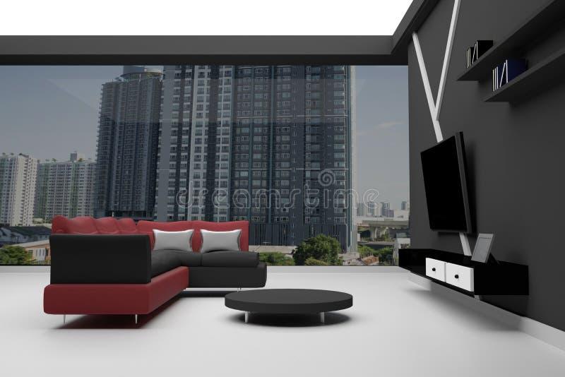 rappresentazione 3D: Interno di alto sofà sezionale rosso e nero del condominio di aumento - con pochi scrittorio e televisione illustrazione vettoriale