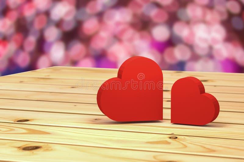rappresentazione 3D: l'illustrazione del giorno di biglietti di S. Valentino concettuale, cuore due ha messo sopra la tavola di l illustrazione vettoriale