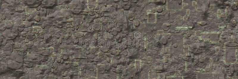 rappresentazione 3d Modello astratto del fondo dei metalli di corrosione illustrazione vettoriale
