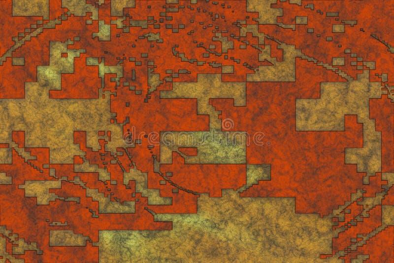 rappresentazione 3d Modello astratto del fondo dei metalli di corrosione illustrazione di stock