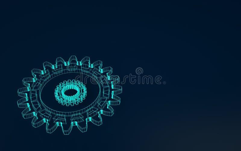 rappresentazione 3d per la progettazione Ruota di ingranaggio di Wireframe su fondo blu scuro con lo spazio della copia Organizza illustrazione di stock