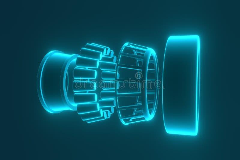 rappresentazione 3d Pezzi di ricambio automatici dei cuscinetti automobilistici Cuscinetto a rulli conici illustrazione vettoriale