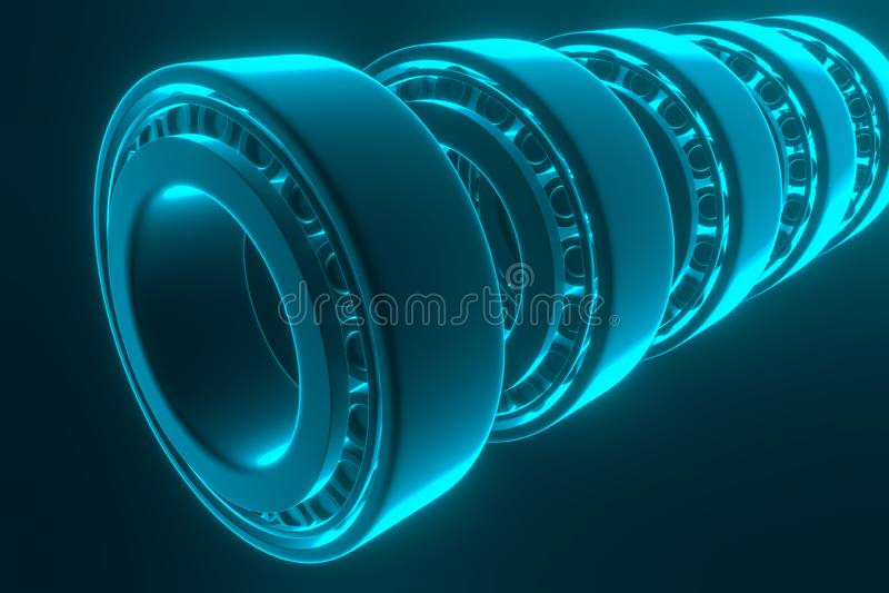 rappresentazione 3d Pezzi di ricambio automatici dei cuscinetti automobilistici Cuscinetto a rulli conici illustrazione di stock