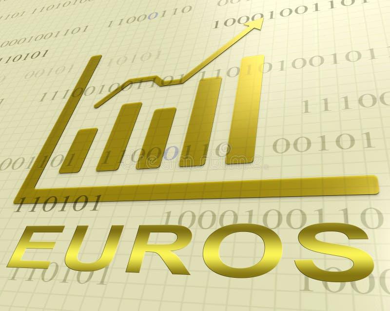 Rappresentazione dei forex 3d di Euros Graph Increasing Shows European illustrazione di stock