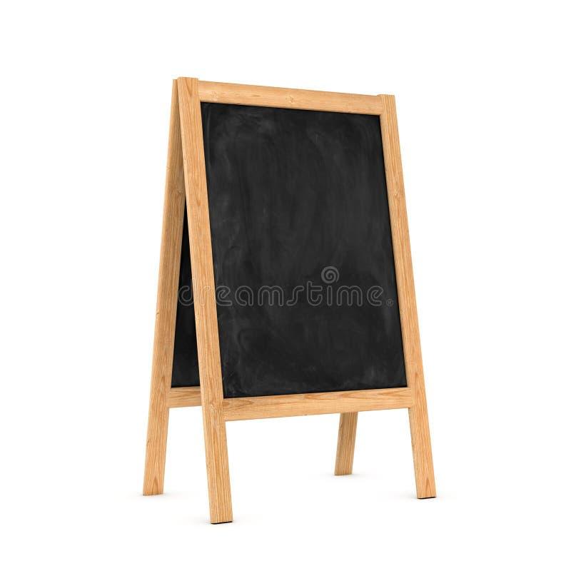 Rappresentazione del cavalletto nero pulito della lavagna nel telaio di legno isolato su fondo bianco illustrazione di stock