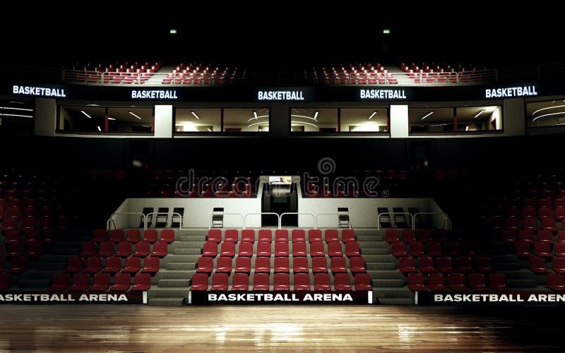 Rappresentazione del fondo dell'arena di pallacanestro nessuna gente immagini stock libere da diritti