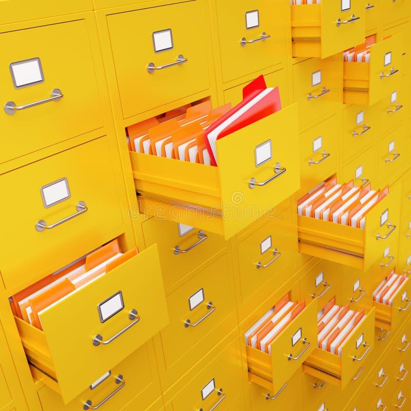 Rappresentazione del gabinetto di archivio 3D illustrazione vettoriale