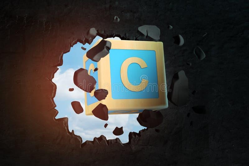 rappresentazione del primo piano 3d del blocchetto blu di ABC con la lettera C che rompe foro in parete nera con il foro visto at immagini stock libere da diritti