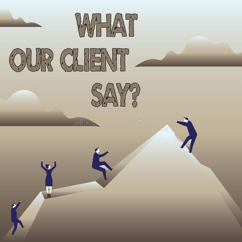 Rappresentazione del segno del testo che cosa il nostro cliente dice Risposte o opinione di clienti concettuali della foto circa  illustrazione vettoriale