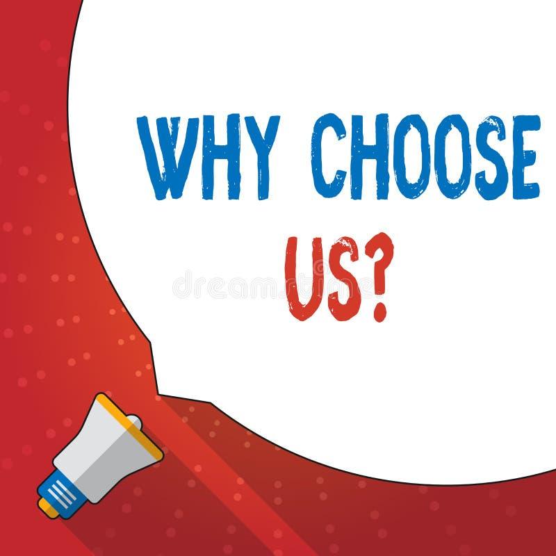 Rappresentazione del segno del testo perché scelgaci domanda Lista concettuale della foto dei vantaggi e degli svantaggi per sele illustrazione vettoriale