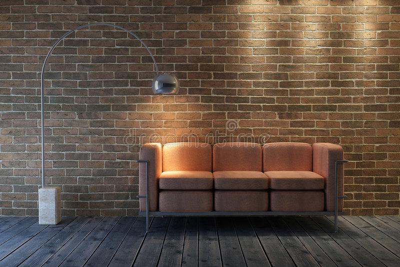 Rappresentazione del sofà 3D illustrazione vettoriale