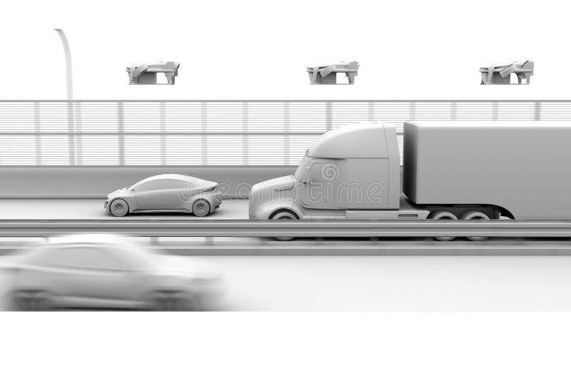 Rappresentazione dell'argilla dei camion americani, fuchi del carico immagine stock
