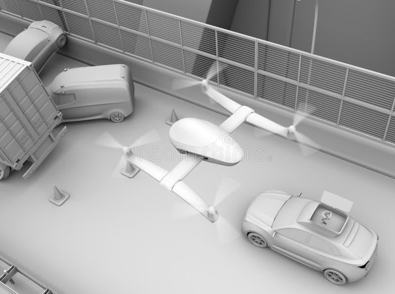Rappresentazione dell'argilla del volo del fuco di salvataggio dal salvataggio elettrico SUV all'incidente stradale di registrazi illustrazione vettoriale