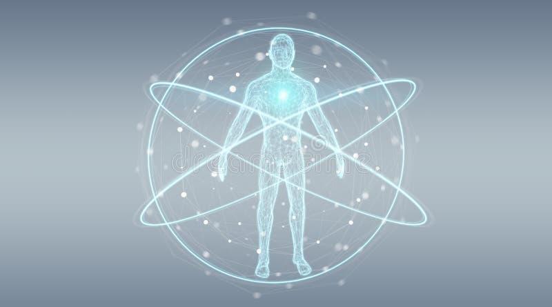Rappresentazione dell'interfaccia 3D del fondo di ricerca del corpo umano dei raggi x di Digital royalty illustrazione gratis