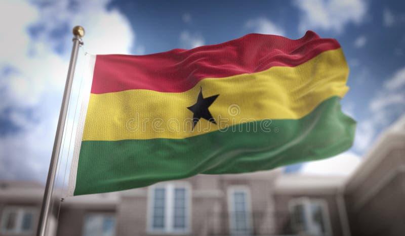 Rappresentazione della bandiera 3D del Ghana sul fondo della costruzione del cielo blu illustrazione vettoriale