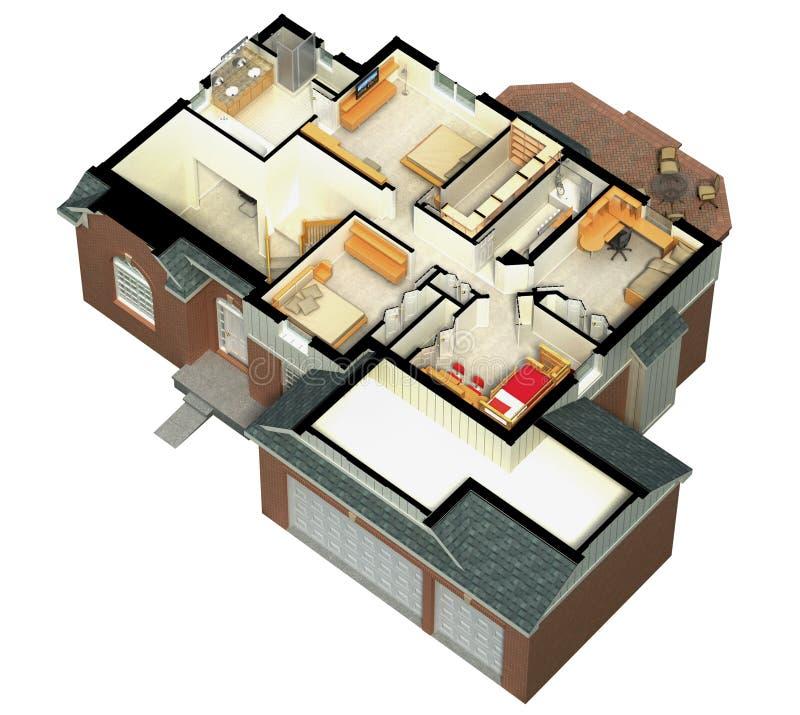 rappresentazione della casa ammobiliata 3D illustrazione di stock