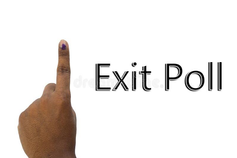 Rappresentazione della mano e di exit poll della votazione indiana di elezione sul fondo isolato immagine stock