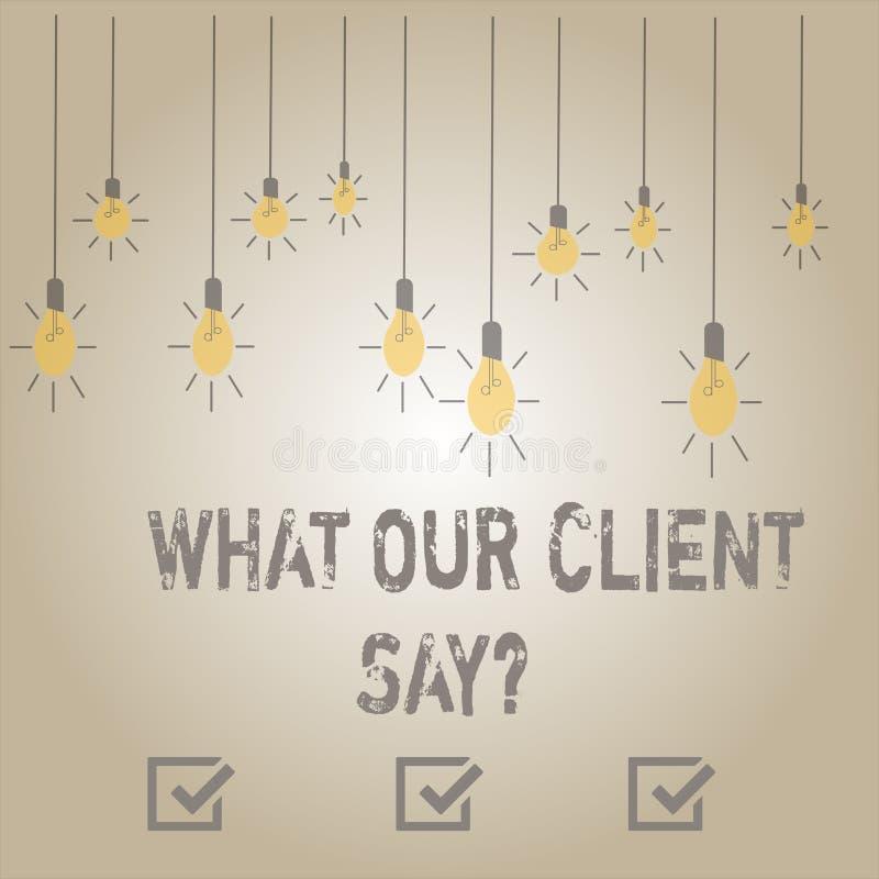Rappresentazione della nota di scrittura che cosa il nostro cliente dice Foto di affari che montra risposte o opinione di clienti illustrazione di stock