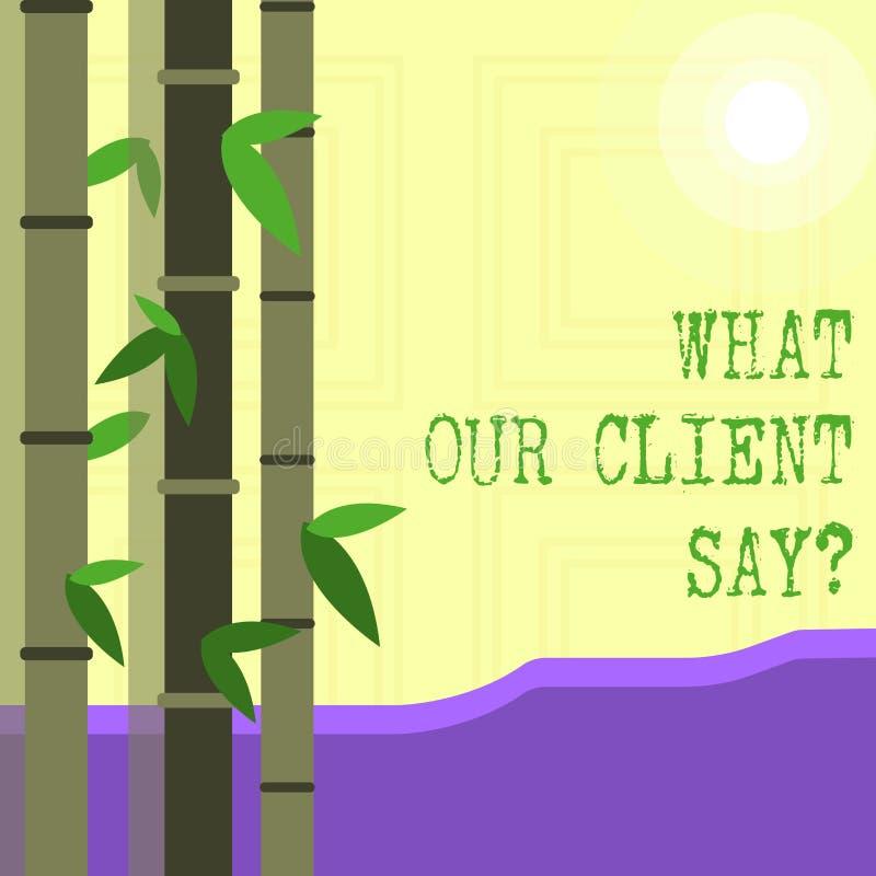Rappresentazione della nota di scrittura che cosa il nostro cliente dice Foto di affari che montra risposte o opinione di clienti royalty illustrazione gratis
