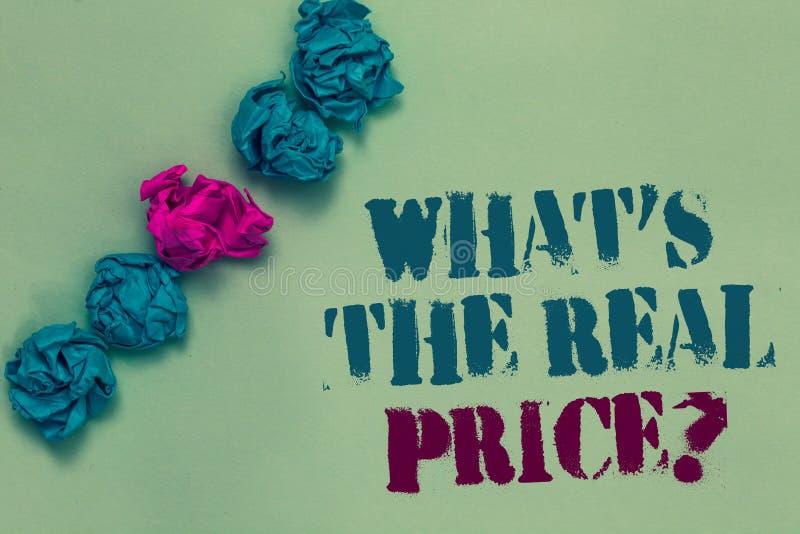 Rappresentazione della nota di scrittura che s è la domanda dei prezzi reali Montrare della foto di affari dà il valore reale del immagine stock