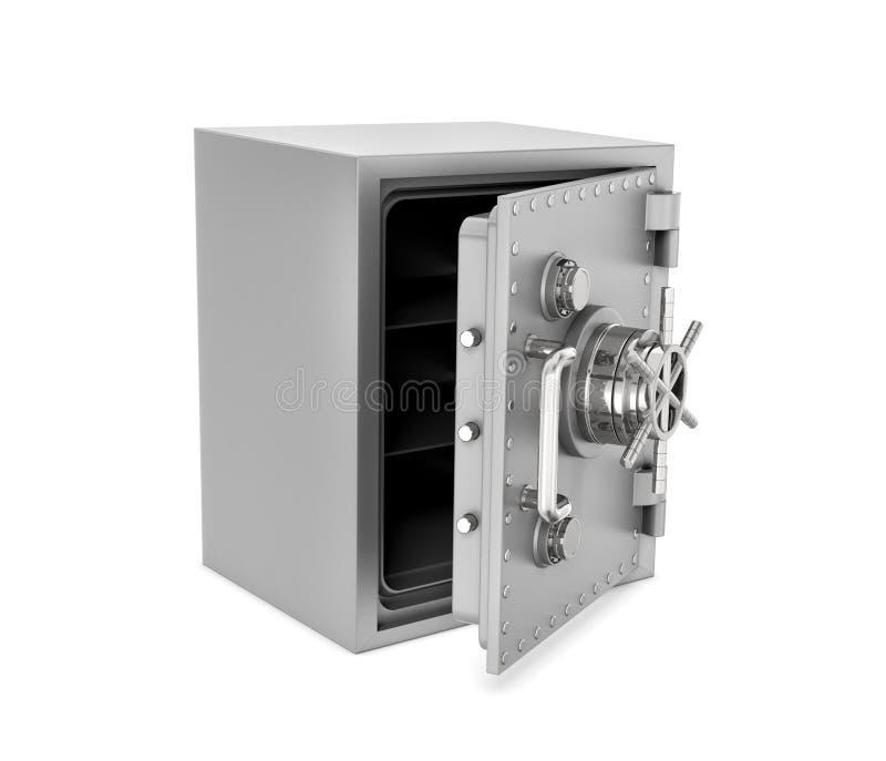 Rappresentazione della scatola sicura d'acciaio con la porta aperta, isolata su fondo bianco immagine stock libera da diritti