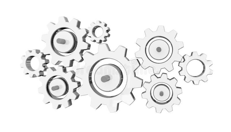 Rappresentazione delle icone 3D dell'ingranaggio di Digital illustrazione di stock