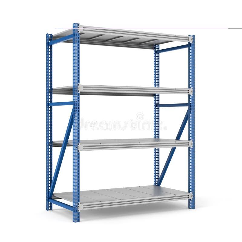 Rappresentazione dello scaffale d'acciaio a quattro livelli di stoccaggio isolato sui precedenti bianchi immagini stock libere da diritti