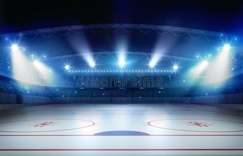 Rappresentazione dello stadio 3d del hockey su ghiaccio illustrazione di stock