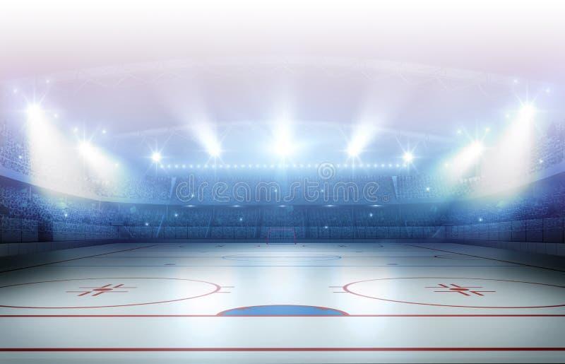 Rappresentazione dello stadio 3d del hockey su ghiaccio immagini stock