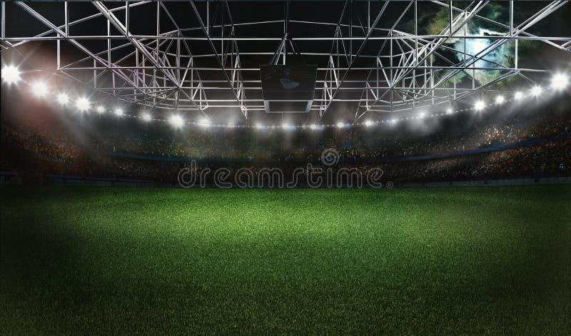 Rappresentazione dello stadio di calcio 3D di calcio immagine stock libera da diritti
