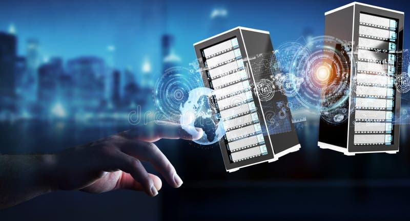 Rappresentazione di collegamento del centro dati 3D della stanza dei server dell'uomo d'affari royalty illustrazione gratis