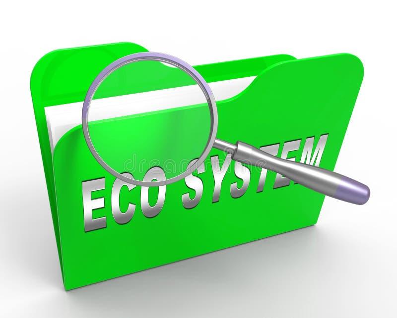 Rappresentazione di interazione 3d di dati di sistema di Digital Eco illustrazione di stock