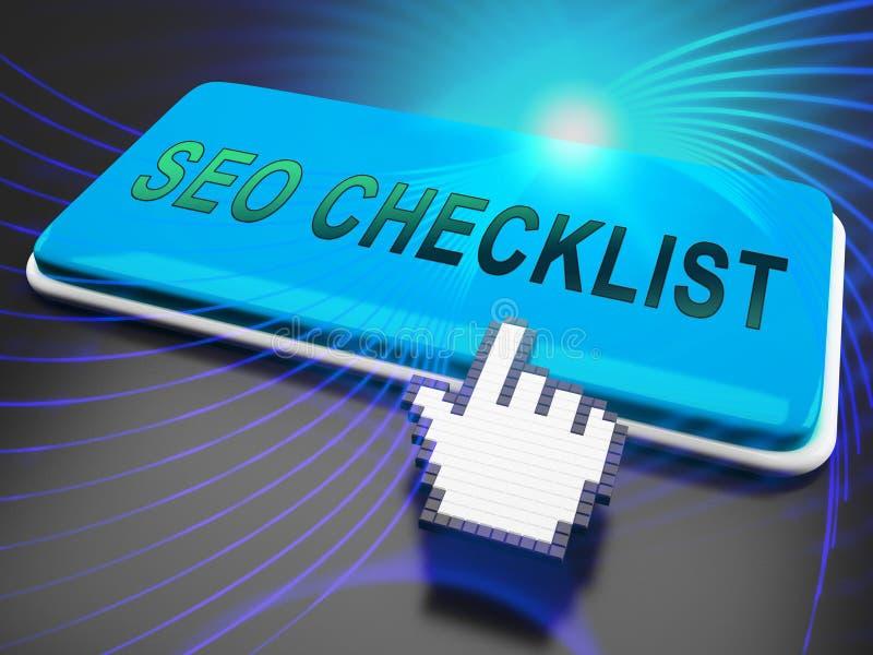 Rappresentazione di Seo Checklist Web Site Report 3d illustrazione vettoriale