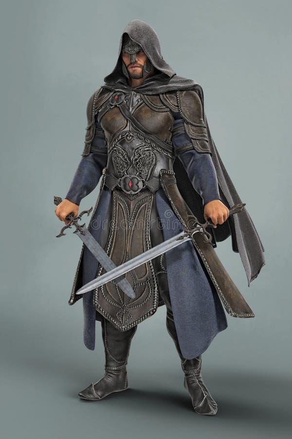 Rappresentazione di un cavaliere medievale di fantasia in armatura con le spade attraversate royalty illustrazione gratis