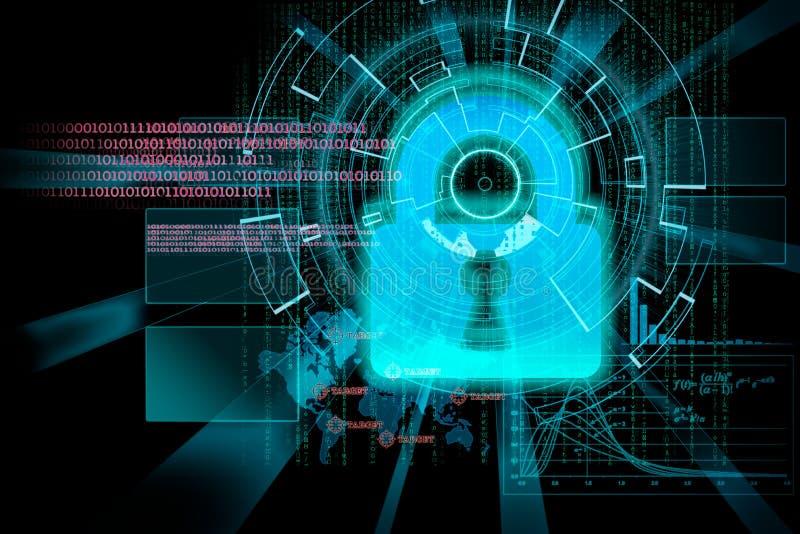 Rappresentazione di un obiettivo cyber futuristico del fondo con il lig del laser royalty illustrazione gratis