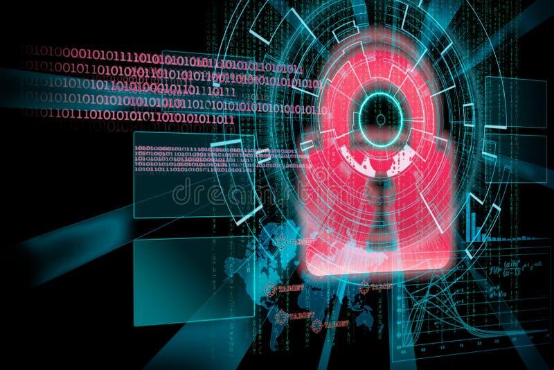 Rappresentazione di un obiettivo cyber futuristico del fondo con il lig del laser illustrazione vettoriale
