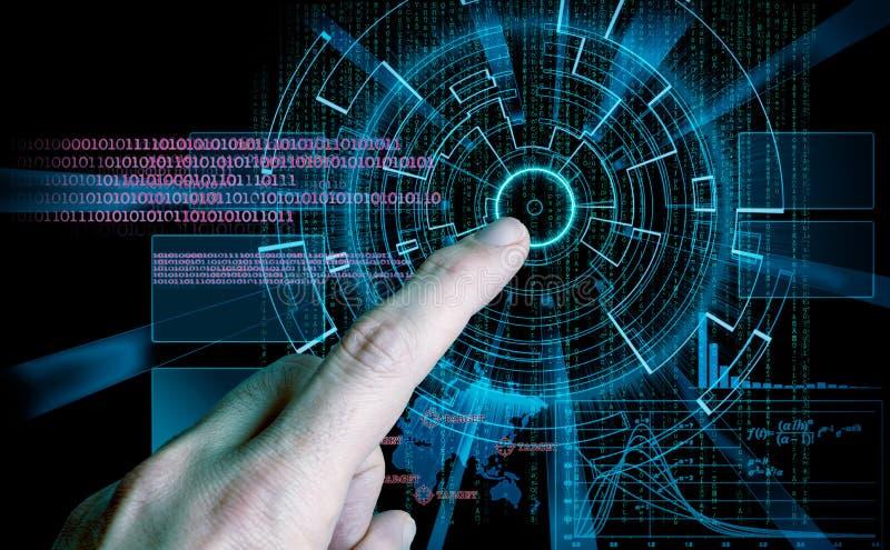 Rappresentazione di un obiettivo del fondo e di un dito cyber futuristici ind illustrazione di stock