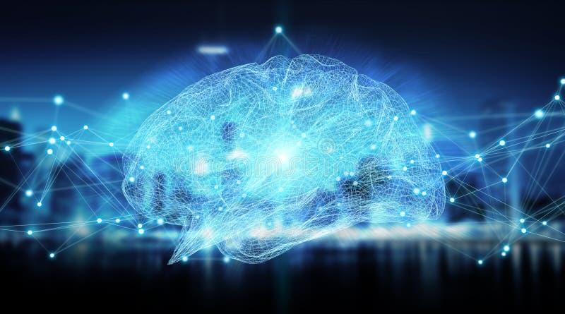 Rappresentazione digitale dei raggi x 3D del cervello umano illustrazione di stock