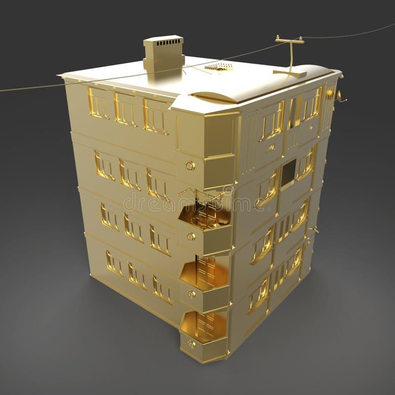 Rappresentazione dorata brillante di vista laterale del tetto della casa isolata su fondo scuro illustrazione vettoriale