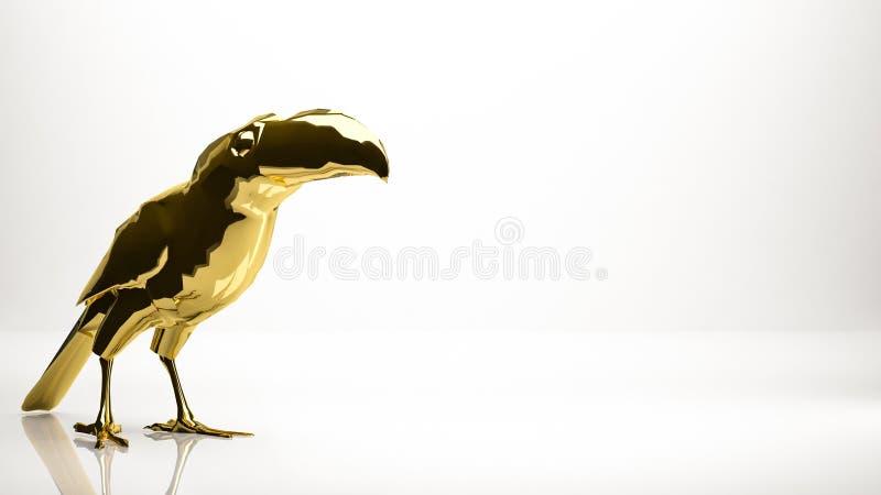 Rappresentazione dorata 3d di una corona dentro uno studio royalty illustrazione gratis