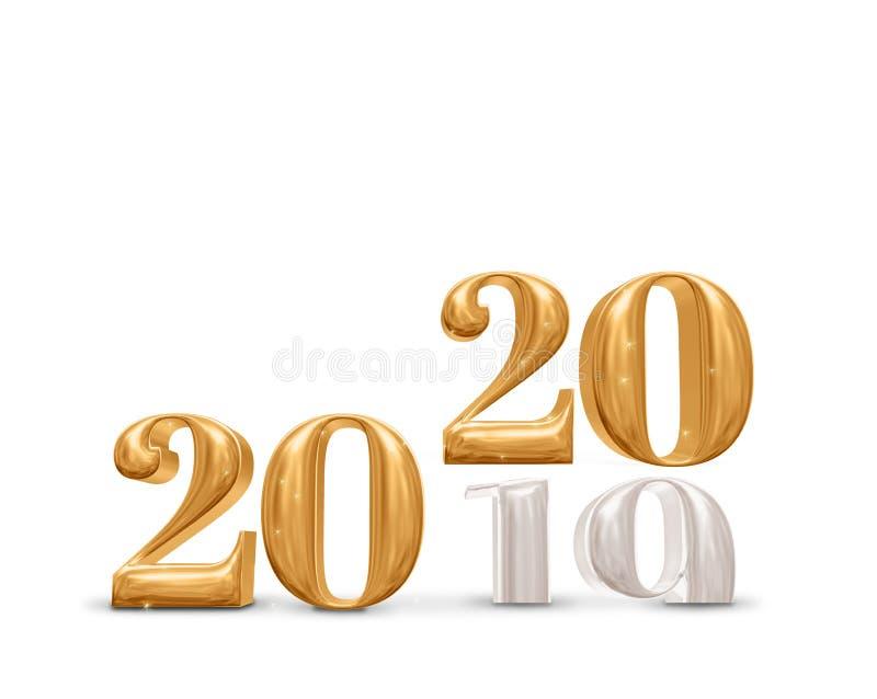 rappresentazione dorata del cambiamento 2019 - 2020 di numero 3d del nuovo anno sul fondo bianco della stanza dello studio, carta royalty illustrazione gratis