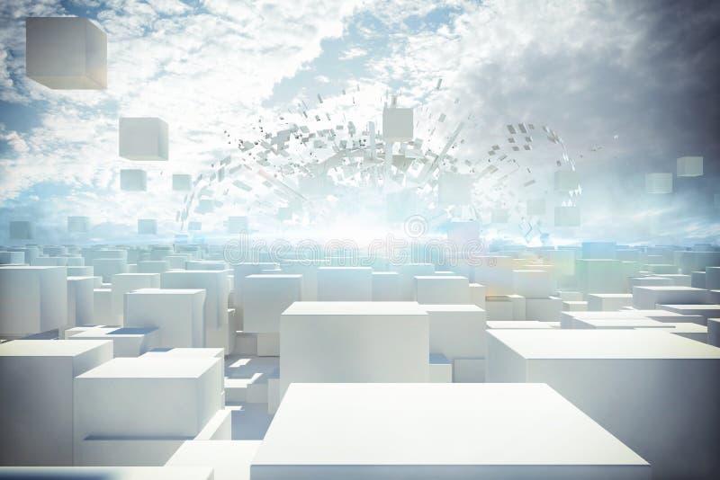 Rappresentazione futuristica della città 3d illustrazione vettoriale