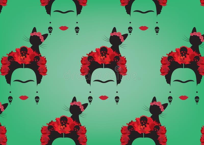 Rappresentazione grafica del fondo del ` s di Frida Kahlo, ritratto minimalista con i crani degli orecchini, fiori rossi e gatto  illustrazione vettoriale