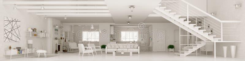 Rappresentazione interna di panorama 3d dell'appartamento bianco illustrazione vettoriale
