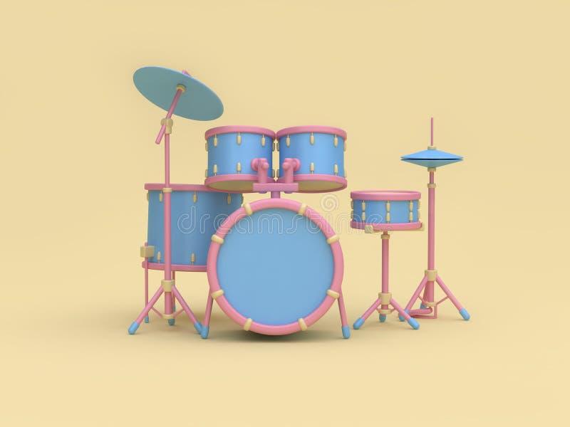 rappresentazione minima gialla molle del fondo 3d del tamburo dell'insieme di stile radiofonico Blu-rosa del fumetto illustrazione di stock