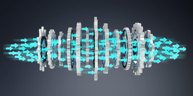 Rappresentazione moderna di galleggiamento del meccanismo di ingranaggio 3D royalty illustrazione gratis