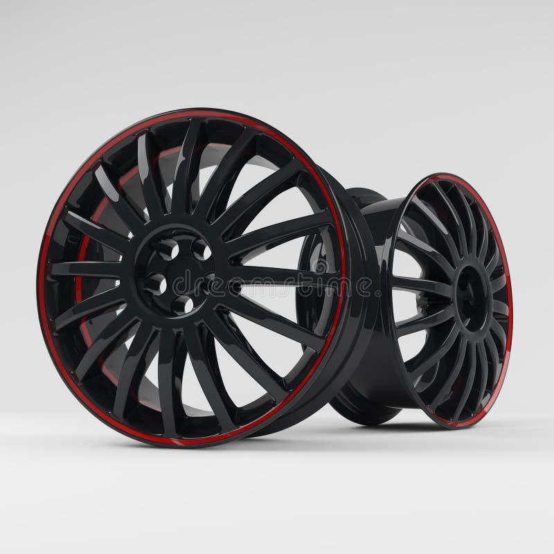 Rappresentazione nera di alluminio di alta qualità di immagine 3D della ruota Orlo della lega calcolato immagine bianca per l'aut illustrazione vettoriale