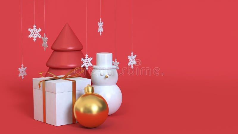 Rappresentazione rossa del fondo 3d di natale dell'estratto con i molti uomo della neve del contenitore di regalo dell'albero di  illustrazione di stock