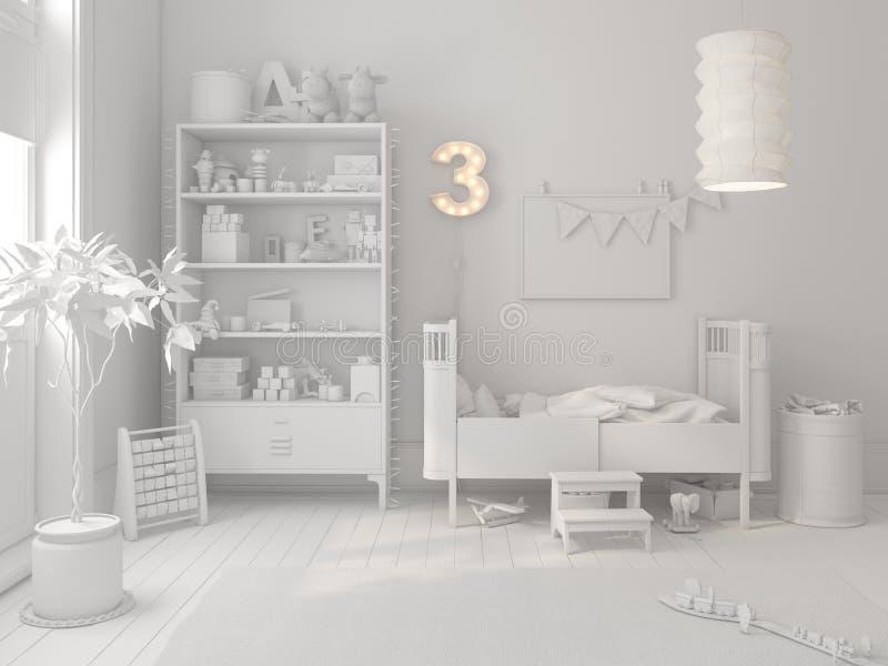 Rappresentazione scandinava bianca di stile 3D della stanza di bambini royalty illustrazione gratis